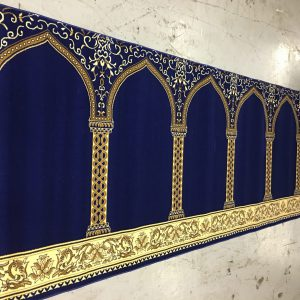 Portable Royal Blue Hira Prayer Rug | Muslim Prayer Rug | Musalla Masjid Carpets